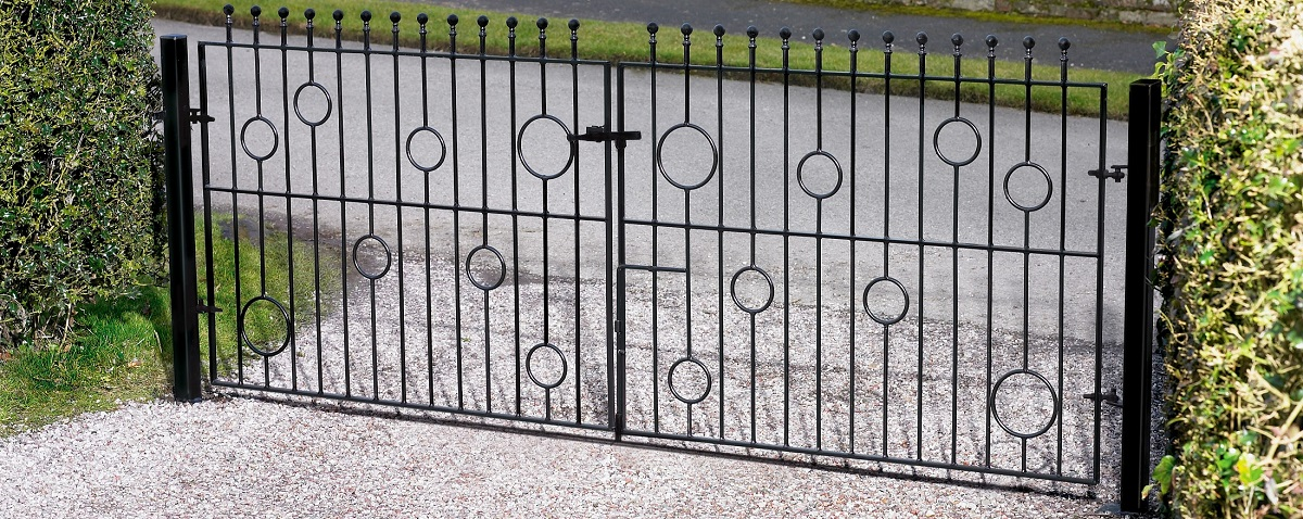Picasso modern double metal driveway gates fitted in Blackburn