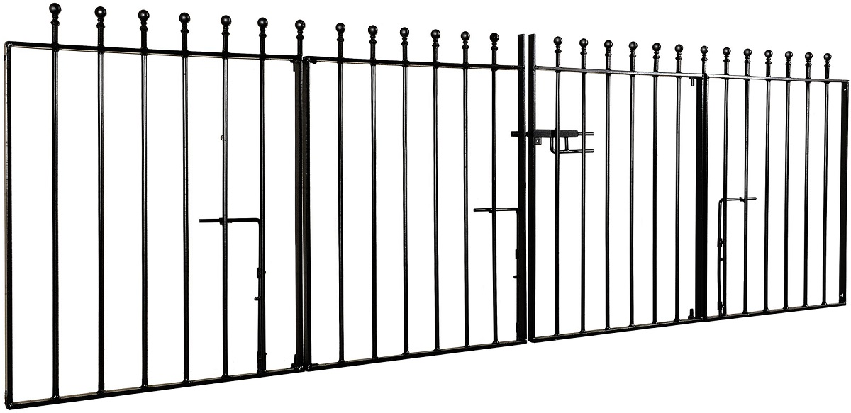Manor ball top bespoke bi folding double metal driveway gate design