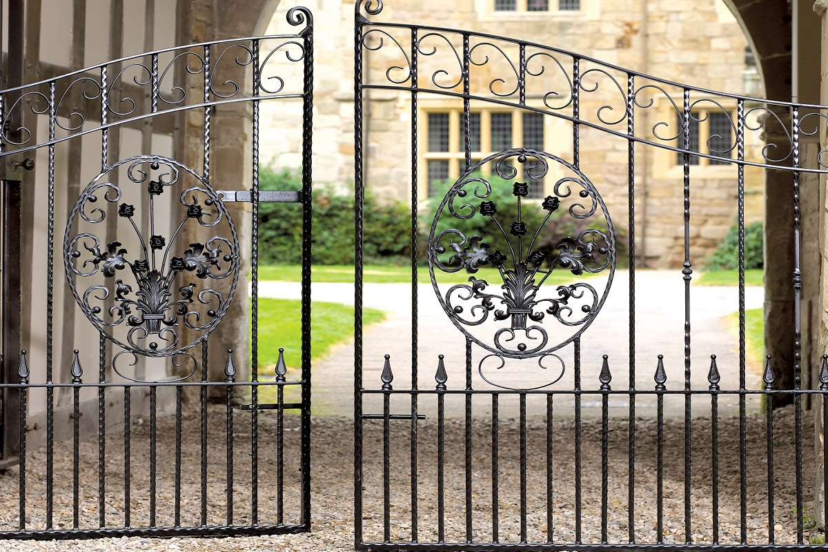Royal Balmoral wrought iron double gate design fitted to courtyard entrance