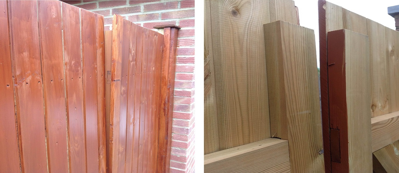Timber gates that have twisted due to poor application of stain