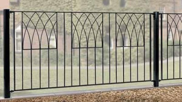Abbey Wrought Iron Style Metal Garden Fence Panel