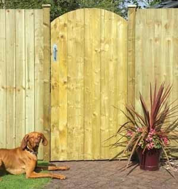Arched Feather Edge Wooden Side Gate
