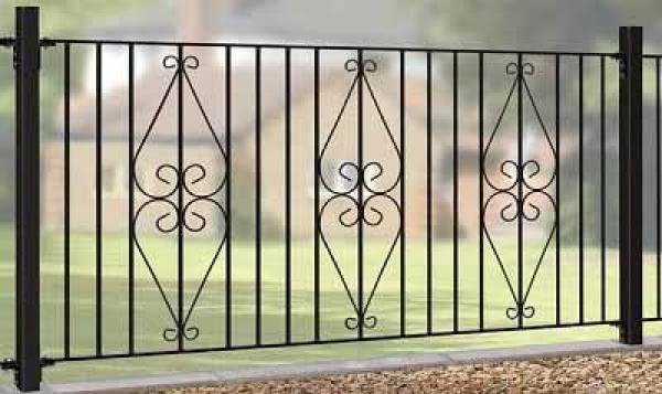 Henley Wrought Iron Style Metal Garden Fence Panel