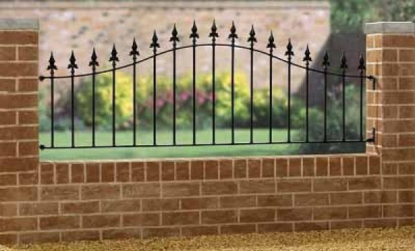 Saxon Arched Wrought Iron Style Metal Garden Railings