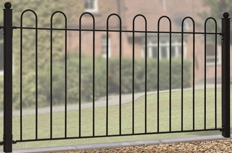 Court Wrought Iron Style Metal Garden Fence Panel