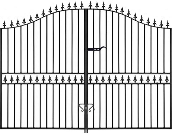 Hampton Arched Wrought Iron Style Estate Gates | 7ft High