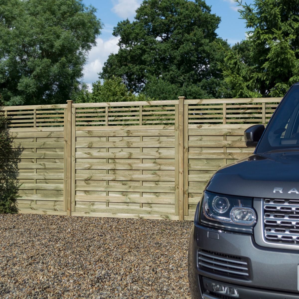 Langham Pressure Treated Wooden Fence Panel with Slatted Top
